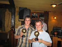 Ben Inman and Andrew Bland with their Referees Man oif the Match trophies